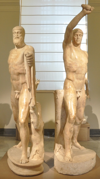 Harmodius (Ἁρμόδιος ) & Aristogeiton (Ἀριστογείτωνôn),  the gay lovers honoured by ancient Athenians as the protectors of democracy.