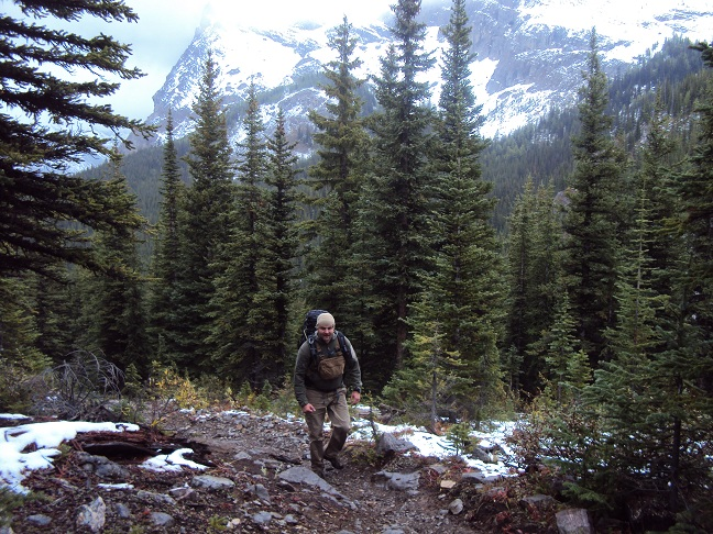 Filip behind me (as usual) near the start of Assiniboine Pass - snow starting to appear on the trail.