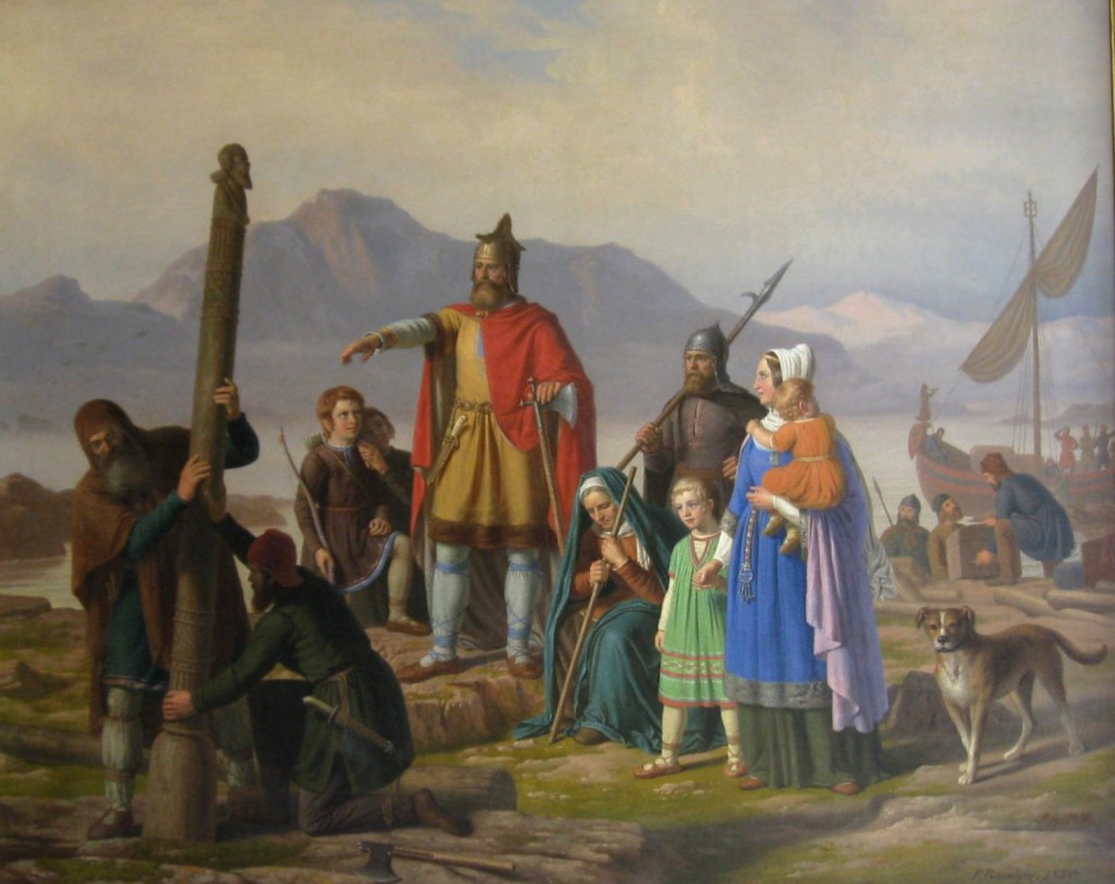Ingólfr Arnarson founds the first settlement at Reykjavík in 874 A.D., laying the groundwork for jammið and the Icelandic music scene. An 1850 painting of dubious historical accuracy by Johan Peter Raadsig.