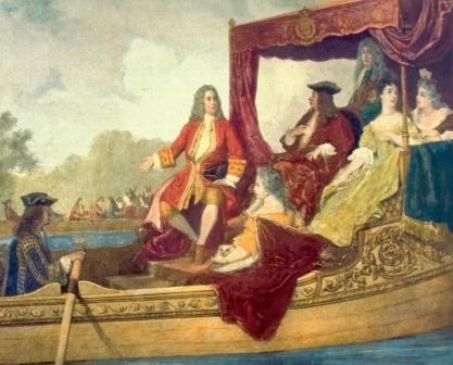 Handel (center left) on the Thames with King George and entourage.