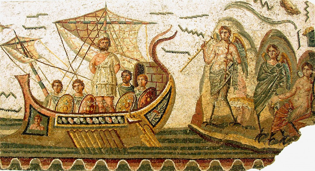 A Roman mosaic portraying the Odyssey. Its stories were known to everyone --- literally thousands of murals, mosaics an painted pottery portraying it have survived, doubtless a tiny fraction of those that once existed.